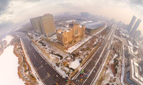 銀川2017年第一場雪航拍全景360