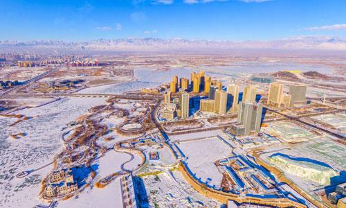 500米高空下俯瞰銀川雪后高清美景-全景寧夏
